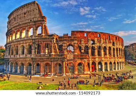 View of the Colosseum on a sunny day, Rome, Italy
