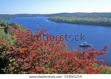 View of the Connecticut River form Gillette Castle, East Haddam, Connecticut - stock photo