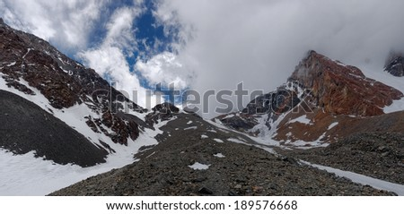 View of the Cordon del Plata entrance at Vallecitos, Mendoza, Argentina. Vallecitos is visited for his own beauty, and as training for Aconcagua.  - stock photo