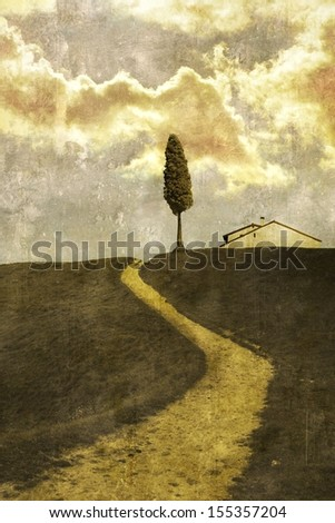 View of the countryside with single tree - stock photo