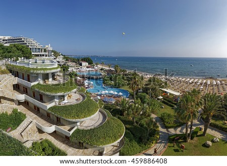 View of the Crystal Sunrise Queen Luxury Resort & SPA Hotel in Side, Turkey