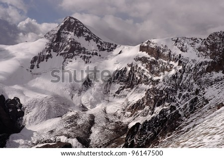 View of the Cuerno Mountain from the West face of Aconcagua mountain. Aconcagua Provincial Park, Mendoza, Argentina, South America. - stock photo