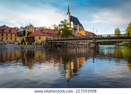 View of the Czech town of Cesky Krumlov, Bohemia, with St Vitus' church - stock photo