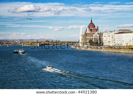 View of the Danube and the Budapest Parliament, Hungary - stock photo