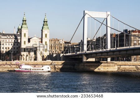 view of the Danube River and the city of Budapest, Hungary - stock photo