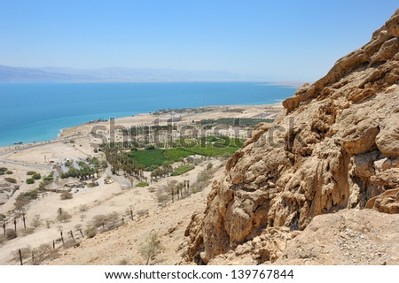 View of the Dead Sea from the slopes of the Judean Mountains in the area of the reserve of Ein Gedi - stock photo