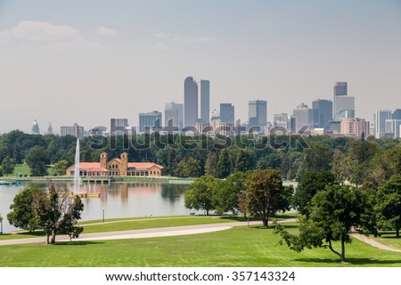 View of the Denver skyline across green park
