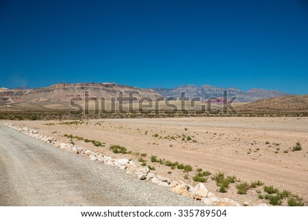 View of the desert near Red Rock Canyon in Las Vegas, Nevada. - stock photo