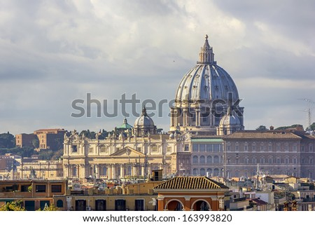 View of the dome of St. Peter from the Pincio Terrace - stock photo