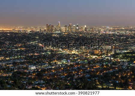View of the downtown Los Angeles skyline at night, from Griffith Observatory, in Griffith Park, Los Angeles, California.