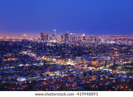 View of the downtown Los Angeles skyline at night, from Griffith Observatory, in Griffith Park, Los Angeles, California