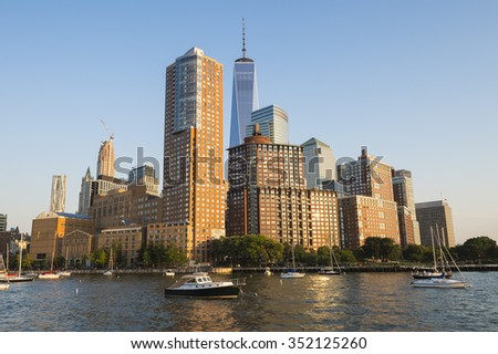 View of the Downtown Manhattan skyline from the Hudson River - stock photo