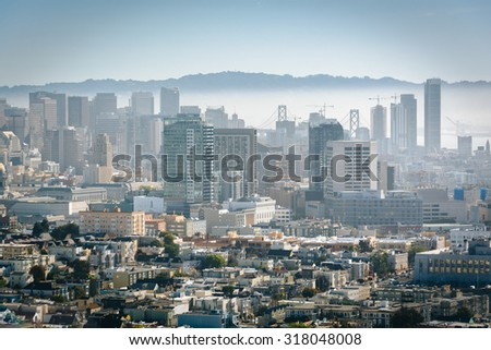 View of the downtown skyline from Corona Heights Park, in San Francisco, California.