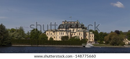 view of the Drottningholm Royal palace in Sweden - stock photo
