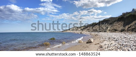 View of the dunes and coast Block Island located in the state of Rhode Island USA. - stock photo