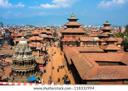 View of the Durbar Square in Kathmandu, Nepal. - stock photo