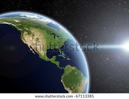 View of the Earth from space. America Close up - stock photo