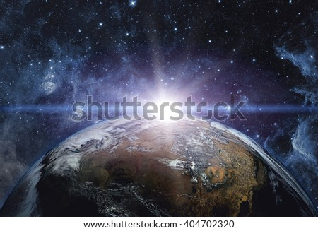 View of the earth from the cosmos. Elements of this image furnished by NASA - stock photo