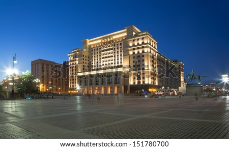 View of the eastern facade of the old Hotel Moskva from Manege Square. Moscow, Russia - stock photo