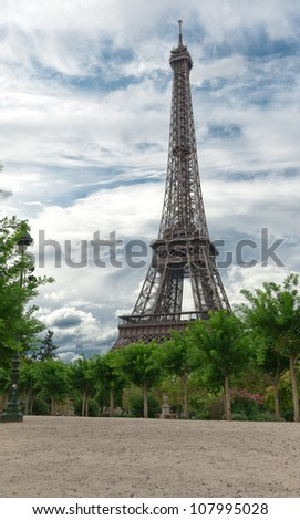 View of the Eiffel tower - stock photo