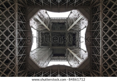 View of the Eiffel Tower from directly underneath. - stock photo