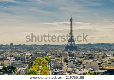 View of the Eiffel tower from Triumphal Arch in Paris - stock photo