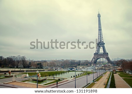view of the Eiffel Tower in Paris - stock photo