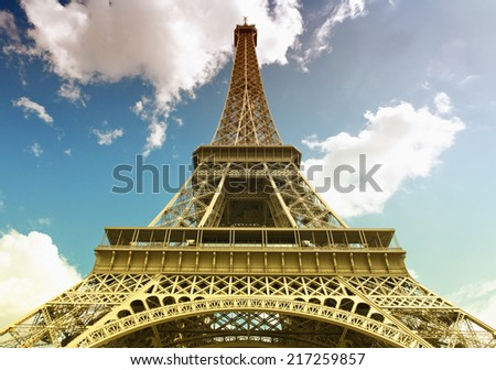 View of the Eiffel tower in Paris. Paris beautiful destinations in Europe