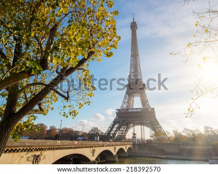 View of the Eiffel tower in Paris. Paris beautiful destinations in Europe - stock photo