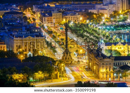 View of the embankment, and a column of Columbus in Barcelona at night. - stock photo