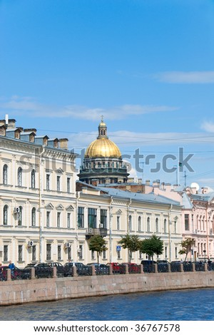 view of the embankment and isaacs cathedral in St. Petersburg