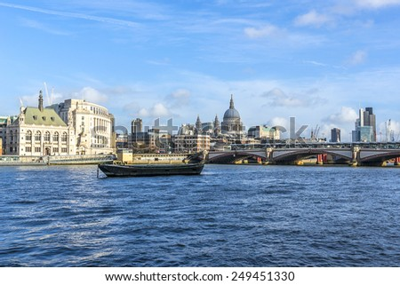 View of the Embankment and River Thames on sunny day. London, England. - stock photo
