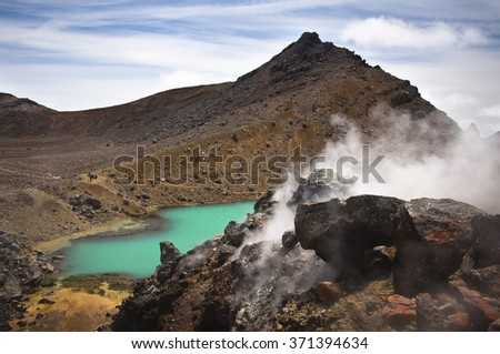 View of the Emerald Lakes and the steam exiting from the natural vents on the Tongariro Crossing - stock photo