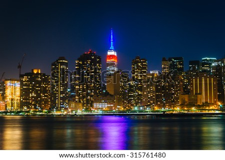 View of the Empire State Building from Gantry Plaza State Park, in Long Island City, Queens, New York.