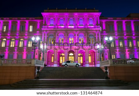 View of the entrance the Pink House, Casa Rosada, in Buenos Aires Argentina. this is the Goverment House of Argentina - stock photo