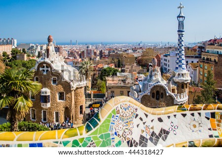 View of the entrance to the Park Guell by Antoni Gaudi. Barcelona, Catalonia, Spain