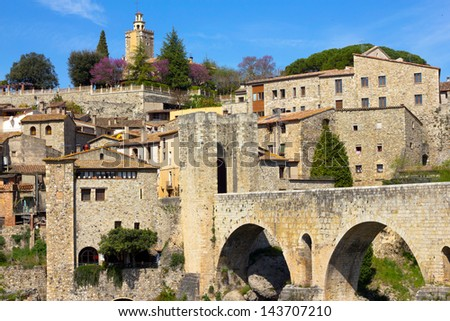 View of the entry and fort of Besalu village, Girona (Catalonia, Spain)