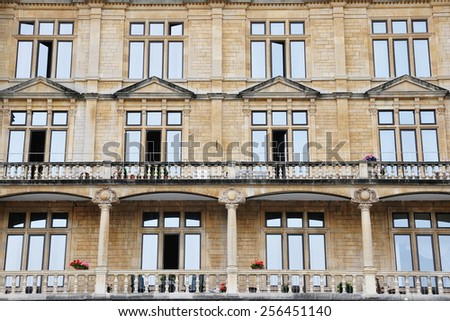 View of the Exterior of an Old Apartment Building - stock photo