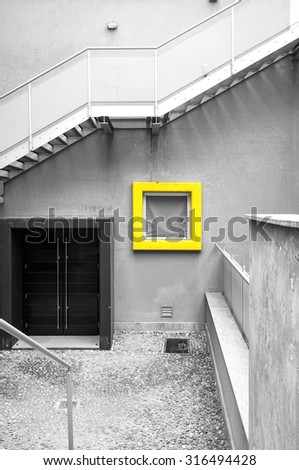 View of the facade of a modern buildings; geometric composition. Black and white photo - stock photo