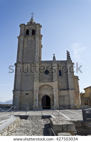 View of the facade of the Major Abbey Church in the Fortaleza de La Mota, Spain - stock photo