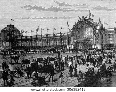 View of the facade of the Universal Exhibition in Paris in 1878, vintage engraved illustration. Industrial encyclopedia E.-O. Lami - 1875.