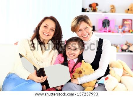 View of the family photo album. - stock photo