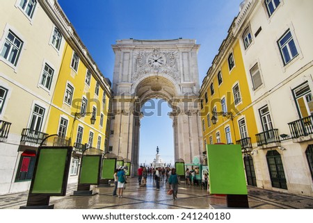 View of the famous arch of the Augusta street located in Lisbon, Portugal. - stock photo
