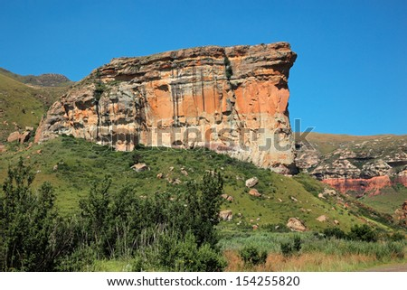 View of the famous Brandwag sandstone rock, Golden Gate National Park, South Africa  - stock photo