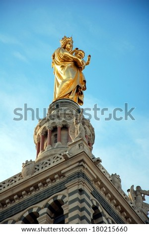 """View of the famous  church """"Notre Dame de la Garde"""" of Marseille in Provence,  France  - stock photo"""