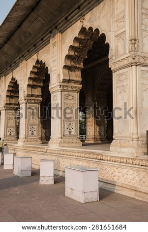 View of the famous Divan-i-Khas inside Red Fort in Delhi. Built of white marble and sandstone, the architecture is jaw-dropping and depicts classic mughal architecture. - stock photo