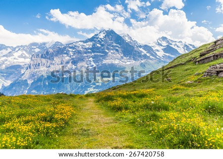 View of the famous Eiger north face on the hiking path, on the bernese oberland in Switzerland - stock photo