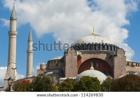 View of the famous Hagia Sophia museum in the Sultanahmet district of Istanbul Turkey