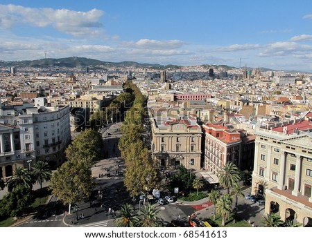 View of the famous la rambla in Barcelona
