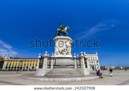 View of the famous statue of D. Jose I located in the Commerce plaza on Lisbon, Portugal. - stock photo